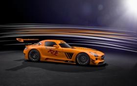 Картинка оранжевый, Mercedes-Benz, профиль, AMG, SLS, GT3, orange