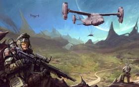 Картинка будущее, оружие, скалы, транспорт, планета, долина, Воин