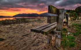 Обои закат, TheOats, трава, холмы, лавочка, озеро, скамья