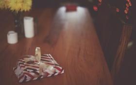 Обои стол, бантик, упаковка, посылки