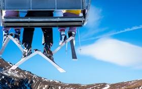 Обои ноги, лыжи, подьемник
