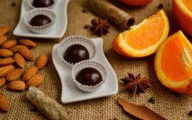 Картинка оранжевый, chocolate candy, еда, шоколад, orange, almonds, шоколадные конфеты
