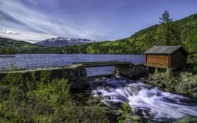 Картинка камни, ручей, лес, домик, озеро, деревья, Норвегия