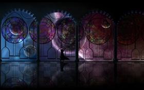 Картинка девушка, космос, планеты, окна, аниме, арт, oright