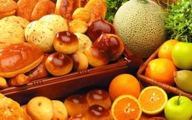 Обои апельсины, фрукты, выпечка, дыня
