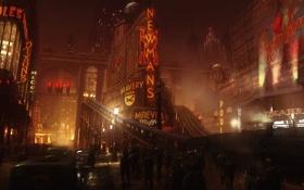 Картинка город, люди, метро, арт, ночь, New York