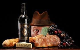 Обои глаз, вино, бутылка, мужик, шляпа, сыр, хлеб