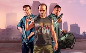 Картинка Взгляд, Оружие, Деньги, Майкл, Grand Theft Auto V, Rockstar Games, Тревор