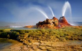 Обои вода, камни, США, Невада, струи, гейзер