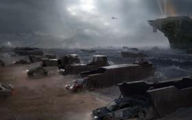 Обои побережье, машины, авианосец, вертолет, Motorstorm, Apocalypse, море
