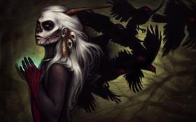 Картинка взгляд, украшения, птицы, кровь, рисунок, Девушка, прическа