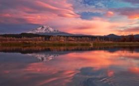 Картинка лес, природа, озеро, отражение, рассвет, гора