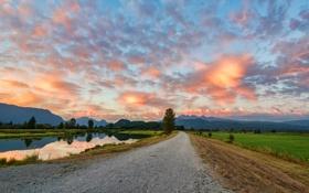Обои дорога, небо, облака, деревья, река, Canada, British Columbia