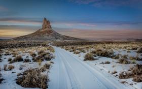 Картинка дорога, снег, гора