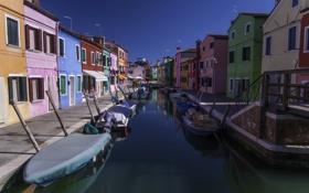 Обои вода, город, цветные, дома, канал, Burano