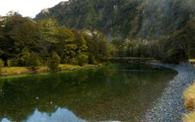 Обои камни, вода, речка, туристы, скала, Новая Зеландия, прозрачная
