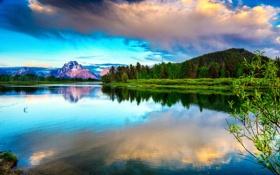 Картинка лес, небо, облака, деревья, горы, отражение, голубое