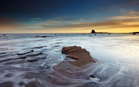 Картинка Sunrise, Saltwick Bay, rocks, seascape