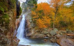 Обои осень, природа, фото, водопад, США, Glen Ellis, New Hampshire