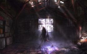 Картинка монстр, окно, цепи, помещение
