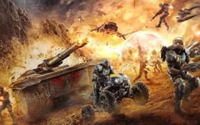 Обои война, солдаты, танк, квадроцикл, будущие, PlanetSide 2