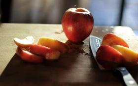 Обои макро, яблоки, еда, нож