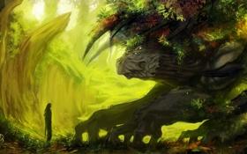 Картинка лес, человек, монстр, растения, существо, арт