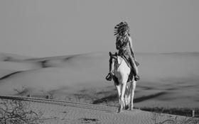 Картинка песок, девушка, конь, пустыня, лошадь, головной убор