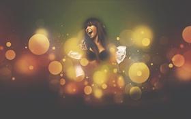 Картинка радость, Девушка, брюнетка, zhikenArt