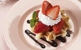 Обои ягоды, еда, шоколад, клубника, пирожное, крем, десерт