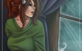 Картинка зима, девушка, снег, лицо, волосы, кофе, утро
