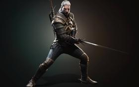 Картинка взгляд, меч, медальон, перчатки, броня, борода, шрам