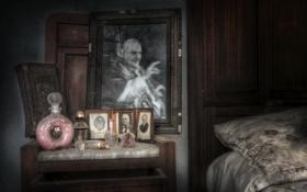 Картинка фото, кровать, картина