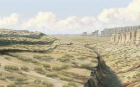 Картинка трава, скалы, арт, пустошь