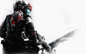 Обои снег, оружие, скафандр, Dead Space, Isaac Clarke