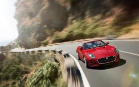 Картинка дорога, красный, движение, поворот, кабриолет, вид спереди, jaguar