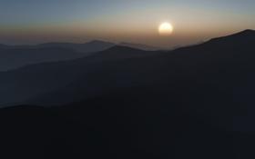 Обои солнце, фото, пейзажи, горы, вид, вечер, утро