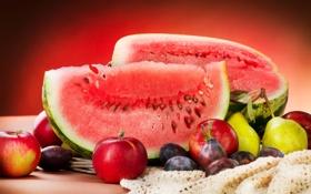 Обои лето, яблоки, арбуз, фрукты, сливы, груши, ломтик