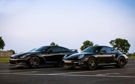 Картинка небо, чёрный, 911, Porsche, Ниссан, Nissan, GT-R