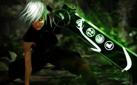 Обои девушка, рендеринг, меч, League of Legends, riven, Riven, Exile