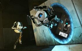 Картинка прыжок, portal 2, Атлас, портал 2, Пибоди, портал ган
