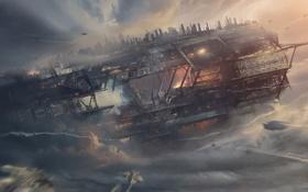 Картинка облака, полет, корабль, станция, арт, истребители, нападение