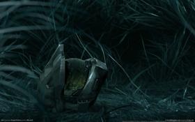Картинка трава, ночь, отражение, шлем, Halo 3, мастер Чиф