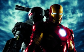 Картинка оружие, фантастика, костюм, двое, постер, Железный человек 2, Iron Man 2