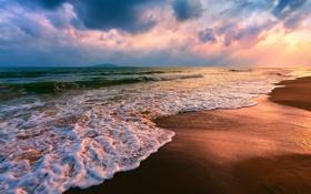 Обои море, волны, пляж, закат, Пейзаж