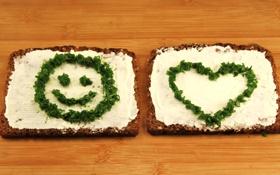 Картинка зелень, масло, хлеб, сердечко, смайлик, бутерброды