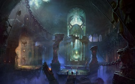 Обои SHUXING LI, символы, арки, паутины, корни, храм, колонны