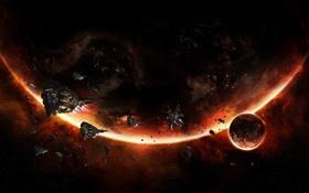 Картинка планеты, свечение, астероиды, флот, огненный, армада, космические корабли