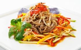Обои овощи, спагетти, соус, паста, базилик