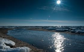 Обои вода, солнце, река, игра, лёд, весна, дорожка